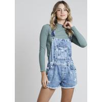 Jardineira Jeans Feminina Destroyed Com Cadarço Azul Médio