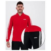 Agasalho Adidas 2 Basics 3 Stripes Track Suit Vermelho E Preto