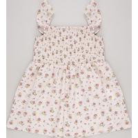Vestido Infantil Estampado Floral Com Babados Sem Manga Rosa Claro