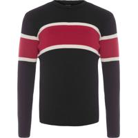 Blusa Masculina Tricot Over Riva Stripes - Preto