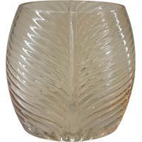 Vaso Folhagem- Incolor & Bege- 16X11X8,5Cm- Fullfull Fit