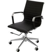 Cadeira Eames Baixa Preta Base Cromada - 14105 Sun House