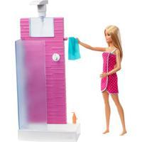 Playset E Boneca Barbie - Barbie Móveis E Acessórios - Banheiro - Mattel