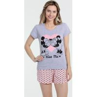 Pijama Feminino Short Doll Minnie E Mickey Disney