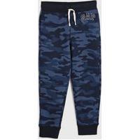 Calça Gap Infantil Camuflada Azul-Marinho