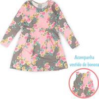 Vestido Infantil E Boneca Floral Rosa - Romitex