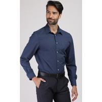 Camisa Social Masculina Comfort Estampada Mini Print Com Bolso Manga Longa Azul Marinho