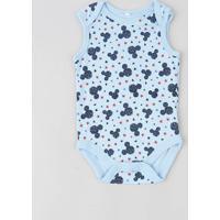 Body Infantil Mickey Estampado Sem Manga Gola Careca Azul Claro