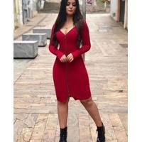 Vestido Coquetel Midi Zíper - Marsala Único