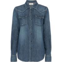 Saint Laurent Camisa Jeans Com Bolso - Azul