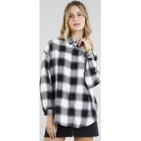 Camisa Feminina Oversized Em Flanela Estampada Xadrez Manga Longa Preta