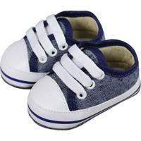 Tênis De Bebê Com Cadarço Jeans Marinho Azul Marinho - Kanui