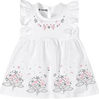 Vestido Floral Com Babados - Branco & Rosa- Baby