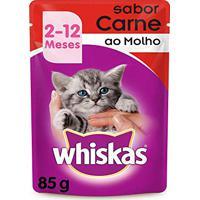 Ração Úmida Whiskas Sachê Para Gatos Filhotes Sabor Carne - Caixa 18 Unidades De 85G