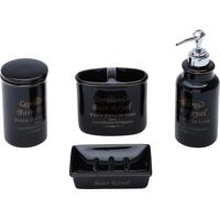 Conjunto De 4 Peças De Cerâmica P/Banheiro Royal Preto