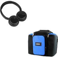 Kit Bolsa Térmica Dagg Fitness Azul G + Headphone Bluetooth Msx