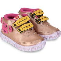 6ca01e38957c3 Netshoes; Tênis Infantil Cano Alto Vissi Macaco Feminino - Feminino-Rosa