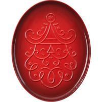 Bandeja Oval Natalina Santa Claus Noel Collection 35 Cm Vermelho Le Creuset
