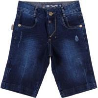 Bermuda Jeans Juvenil Para Menino - Azul