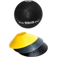 Kit 12 Half Cones Chapéu Chinês Pretorian Hc-Pp + Bola Medicine Slam Ball 10 Kg Liveup Ls3004-10 - Unissex
