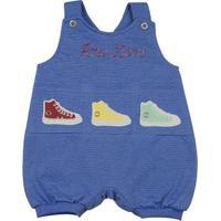 Macacão Bebê Malha Poá Híbrido 3 Tênis Ano Zero - Masculino-Azul Royal