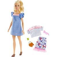 Boneca Barbie - Série Fashionista - Vestido Azul Com Acessórios - Mattel