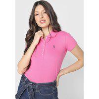 Camisa Polo Aleatory Bordado Rosa