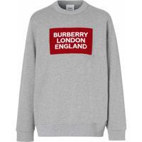 Burberry Moletom Com Aplicação De Logo - Cinza