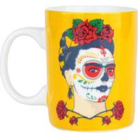 Mini Caneca Cerâmica Frida Kahlo Face Fendo Amarelo 140 Ml - Mini Caneca Cerâmica Frida Kahlo Face 140 Ml