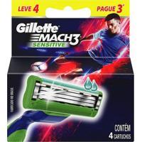 Refil Para Aparelho De Barbear Gillette Mach 3 Sensitive 4 Unidades