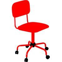 Cadeira Secretária Laminada Color Pistão Fixo Corano Vermelho - At.Home