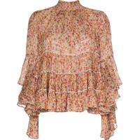 Bytimo Tiered Ruffled Chiffon Floral-Print Blouse - Laranja