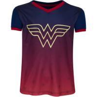 Camiseta Liga Da Justiça Mulher Maravilha - Infantil - Azul Escuro