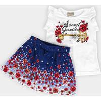 Conjunto Infantil Milon Floral Strass Feminino - Feminino-Branco