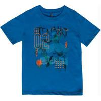 Camiseta Estampa Com Relevo Azul Cativa Kids
