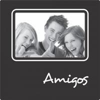 Porta Retrato Plaquet Amigos Para 1 Foto 10X15 Preto Kapos