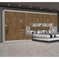 Dormitório Georgia Ja Avelã / Jequitibá Para Cama Box 1,38M Casal