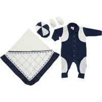 Kit I9 Baby Saída Maternidade 4 Peças Glamour Marinho