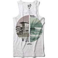Camiseta Regata Long Beach Coleção Praias Surfista Sublimada Masculina - Masculino-Branco