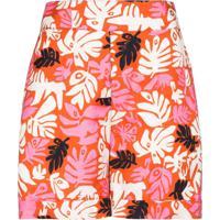 Marni Calça Cintura Alta Com Estampa Floral - Laranja