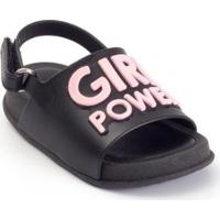 Sandália Bebê Plugt Mini Bizz Girl Power Feminina - Feminino-Preto