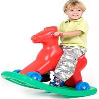Cavalinho Balanço E Andador Com Som Vermelho Alpha Brinquedos