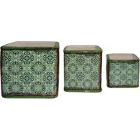 Jogo De Cachepots Abstratos- Verde Claro & Verde- 3Pbtc Decor