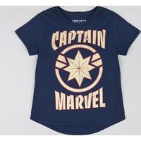 Blusa Infantil Capitã Marvel Metalizada Manga Curta Decote Redondo Azul Marinho