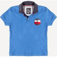 Camisa Polo Aleatory Kids Piquet Flag - Masculina - Masculino-Azul