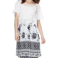 Vestido Bon Com Sobreposição Rendada Branco