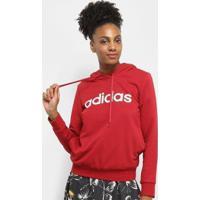 Moletom Adidas Lin Oh Com Capuz Feminino - Feminino-Vermelho+Branco