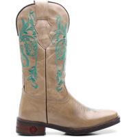 Bota Texana Fossil Ellest - Feminino-Bege+Marinho