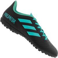 Chuteira Society Adidas Predator 19.4 Tf - Adulto - Preto/Azul Cla