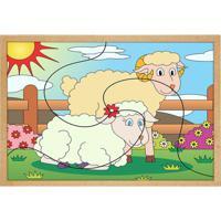 Quebra Cabeça Casal De Ovelhas- Bege & Branco- 3Pçs